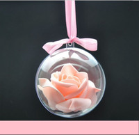Wholesale Wholesale Christmas Stocking Stand - 2017 new high food grade Christmas ball hollow transparent plastic eternal flower ball Christmas decoration a