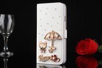 Wholesale Lovely Iphone Wallet Cases - Luxury Protective Leather 6s Case Bling Pearl Card Stand Wallet Flip Coque For iPhone 5 6 6s plus Fashion Lovely Crystal Diamond Cover