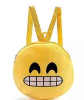 smiley amarillo al por mayor-2016 QQ Expresión Emoji Smiley Tela de algodón Niños Mochilas escolares Redondos Amarillo Mochila de Felpa Niños Juguete de Felpa Nylon Regalo de Navidad
