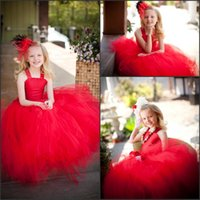 Wholesale Children Dance Images - Two Piece Red Flower Girl Dresses for Wedding 2017 New Fashion Spaghetti Kids Dancing Dresses Tutu Skirt Lace up Back Child Gowns Custom