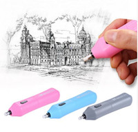 Wholesale Mini Eraser Rubber - 1 Pcs 3 Color Electric Eraser With 10pcs Rubber Stationery Gift Pencil Erasers Mini Rubber Stationery School & Office Supplies Student