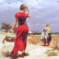 Wholesale impressionism arts - Pino Daeni Seaside Gathering,Handpainted Famous Impressionism Art Oil Painting On High Quality Canvas size can customized Free Shipping