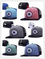 Wholesale Snap Back Cap Sports Logo - Cheap Adjustable Men Women Snapback Mesh Cap Hip Hop Hat Outdoor Sports Casual Snap Back Baseball Hat Conveser All Star Logo Hat Diplomats