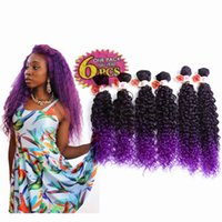 "Wholesale kanekalon weaving hair - 250g lot synthetic weave hair extensions 14""16""18"" Jerry curly freetress Crochet braids ombre brown kanekalon synthetic weft hair for black"