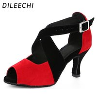 Wholesale Dance Sneakers Shoes Color - TOP Sneakers DILEECHI The new arrival adult women Latin dance shoes ballroom dancing shoes COLOR RED