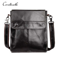 Atacado- CONTACT'S Men Bag Men Messenger Bag Dark Brown Crossbody Shoulder Men's Business Bag Bolsas de couro genuíno Male Free Shipping