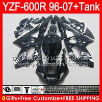 siyah yamaha thundercat kaplama kiti toptan satış-8Gift 23Color YAMAHA YZF600R Thundercat 96 97 98 99 00 01 53HM21 YZF-600R parlak siyah YZF 600R 1996 1997 1998 1999 2000 2001 Fairing kit