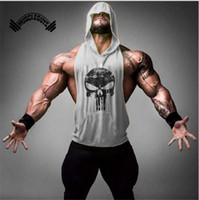 Wholesale Sleeveless Skull Vest - New brand clothing fitness tank Jacket Mens Dress gold bodybuilding Muscle Shirt exercise vest gym Undershirt Plus size