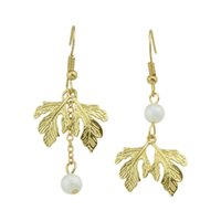 Wholesale Earrings Women Leaves - New Fashion Trendy Jewelry Gold-Color With Double Leaves Simulated-pearl Drop Earrings For Women Accessories