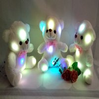Wholesale Cute Teddy Girl - 2017 High Quality LED Night Light Luminous Teddy Bear Cute Shining Bear Plush Toys Baby Toys Birthday Gifts Valentines