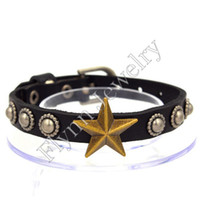 Wholesale Stars Watch Bands - Leather Bracelets Bangles Jewelry Star Button Charms Bracelets Accessories Watch Band Design Adjustable Hip Hop Women Mens Jewelry