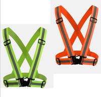 elastik şeritler toptan satış-Emniyet Dişli Yansıtıcı Yelek Giyim Için Yüksek Görünürlük Gün Ve Gece Ayarlanabilir Elastik Şerit Yelek Ceket Koşu Bisiklet Açık LLFA