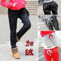 Wholesale Slacks Female - Wholesale- Women slacks pants casual pants Korean version plus thick velvet warm pants female loose wild comfort trousers S2504