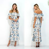 Wholesale Women Skater Cotton Dress - Pencil Dress Off Shoulder Skater Dress Europe And The United States In Summer And Summer Vacation Lotus Leaf Print Dress