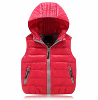 Wholesale Children Cotton Vests - Hurave Children Unisex Vests Warm 2017 New Fashion Kids Winter Coats Cat Print Children Boys Girls Vest Hooded Jacket