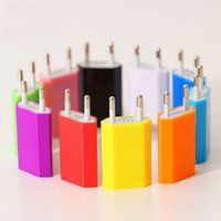 Wholesale Dock Adaptor - Home USB charger 5V 1A USB 1 port mobile adaptor 10 colors EU type free shipping