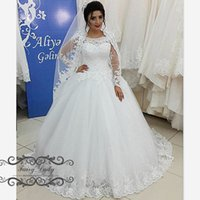 Wholesale Long Gowns For Women - Stunning 2018 Long Sleeves Sheer Lace Wedding Dresses 3D-Floral Appliques and Beading Puffy Ball Gown Bridal Dress For Women Plus Size