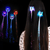 Wholesale Led Light Bulb Changable - LED Hair Colorful changable Butterfly Hair Girl LED Fiber Optic Light Pigtail Wig Braids free shipping via DHL