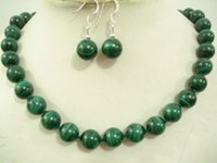 """Wholesale Malachite Gold Earrings - 10mm GREEN Malachite Round Beads Necklace 18"""" Silver"""""""