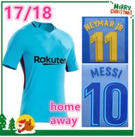 Wholesale Messi Away - 2017 2018 MESSI home away PAULINHO INIESTA PIQUE SUAREZ Soccer jersey 17 18 Fan version Red Blue football Sports shirt