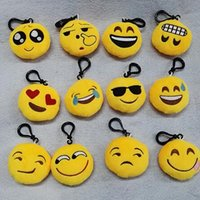 Wholesale Doll More - More than 20 kinds of expression 6 cm Christmas gift key chain emojis smile small condole emotion yellow QQ expression plush toy doll