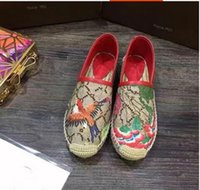 Wholesale Bird Appliques - Top Quality Classic Luxury Brand Genuine Leather Canvas Flowers Birds Anti-slip Women's Casual Fiats Lazy loafers Espadrilles shoes