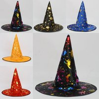 Wholesale Halloween Costumes For Womens - Color Witch Hat Halloween Womens Mens unisex Witch Hat For Halloween Costume Accessory Devil Cap Halloween Costumes Product HalloweenToys