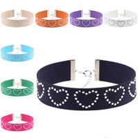 Wholesale Tattoo Choker Necklace Wholesale - Crystal Love Heart Choker Necklace Necklet soft flannel Tattoo Chokers Collars for Women Fashion Jewlery Drop Shipping