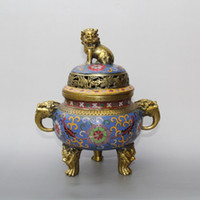 China bronze Cloisonne esmalte dragão Lion Head Handle Incense Burner Censer Pot Statue decoração de casa