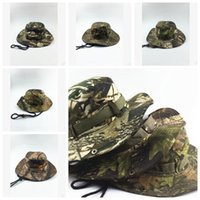 Wholesale Wholesale Mens Camouflage Hats - 5 Colors Tactical Airsoft Sniper Camouflage Beanies Militares Army Mens Military Hiking Hats Summer Fishing Caps CCA6966 50pcs