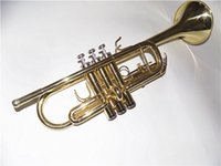 Wholesale C key Trumpet Yellow Brass Body with ABS case and mouthpiece EMS Brass musical instruments