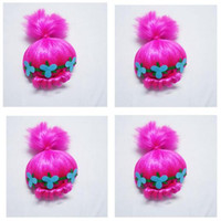 Wholesale wig supplies free shipping - Trolls Wig Girls Kids with Headband Poppy Costume Children Cosplay Party Supplies Trolls Wig Christmas Gifts 50pcs DHL Free Shipping