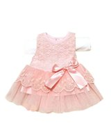 Wholesale Little Girls Wedding Outfits - Wholesale- 2016 New Cute Infant Baby Girls Outfits Kids Children Lace Voile Wedding Party Dresses Little Girl ClothesY