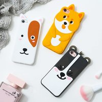 Wholesale Iphone 3d Skin - Puppy Dog Bear 3D Silicone Case For iPhone 7 Plus 6 6S Plus Animals Cartoon Cute Soft Decorative Dustproof Skin Cover DHL Wholesale