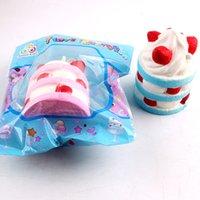 Wholesale Play Food Ice Cream - Squishy hot sells imitation pu strawberry ice cream cake bread decompression child food play model toy