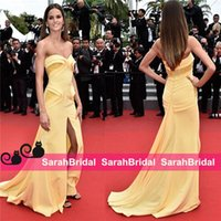 Wholesale Sweetheart Strapless Fit Flare - Izabel Goulart 2017 Cannes Celebrity mermaid Evening Yellow New 12y Embroidered and High Slit Fit to Flare Skirt Cheap Formal Prom Gowns