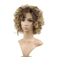 Wholesale Blonde Spiral Curly Wig - Mixed Color Blonde&brown None Lace Wigs Heat Resistant Synthetic Hair Spiral Curly Wig With bangs For American Woman