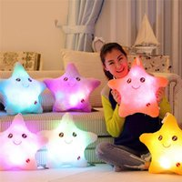 Wholesale Led Glow Pillow - Wholesale- 2017 Mini Peluche 5 Colorful Stars Luminous Glowing Pillow Toys Led Light Plush Pillow Stuffed Toys For Kids Christmas Gift