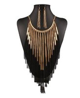 Wholesale christmas gift set ideas - Fashion Necklace Earring Sets Womens Jewelry Gift Idea 18K Gold Plated Tassel Party Gathering Jewelry Sets