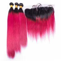 красный омбрей человеческий переплет оптовых-8A малайзийский омбре Роза красные девственные пучки волос с кружевом фронтальной закрытия 1b Красный омбре прямые человеческие волосы ткет с кружевом фронтальной