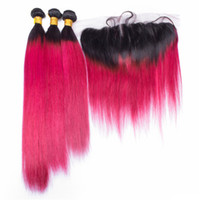 Wholesale rose ombre hair for sale - Group buy 8A Malaysian Ombre Rose Red Virgin Hair Bundles With Lace Frontal Closure B Red Ombre Straight Human Hair Weaves With Lace Frontal