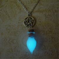 Wholesale Glow Dark Bottle - 12pcs lot Pentagram Necklace with Glow in the Dark Glass Bottle Necklace in silver