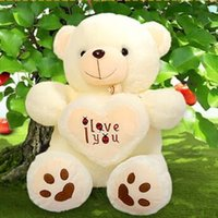 Wholesale Wholesale Teddy Bears For Valentines - Wholesale- 1pcs 50cm Stuffed Plush Toy Holding I Love You Heart Big Plush Teddy Bear Soft Gift for Valentine Day Birthday Girls