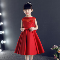 Wholesale Pretty Pictures Flowers - Own Style High Quality Pretty Flower Girl Dresses Formal Girls Gowns Cute Satin Red Pageant Dresses 2017 New Style First commuion Dresses
