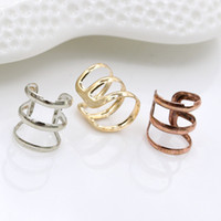 Wholesale Earing Cuffs - Clip Earrings Punk Gold Sliver Bronze Plated Chain Charms Ear Clips Metallic Ear Wrap U Shape None piercing Ear Cuff Earing Jewelry 3 Colors