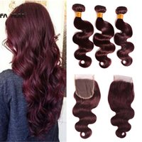 Wholesale mahogany hair for sale - Brazilian virgin human hair bundles with closure lace Mahogany burgundy red body wave weave closure with bundles crochet hair extension
