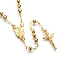 rosenkranz halskette für frauen großhandel-Mode Hip Hop Schmuck Gold Silber Catholic Rosenkranz beten Beads Jesus Kreuz Anhänger Halskette Legierung Lange Bead Kreuz Halskette für Männer und Frauen