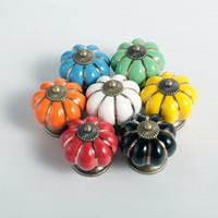 Wholesale Ceramic Pulls For Cabinets - High Quality Pumpkins Knobs Ceramic Cabinets Door Handle Cupboard Drawer dresser pull, cartoon pumpkin knobs for children room