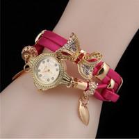 novo tipo braceletes venda por atacado-2017 new Hot Moda Senhoras relógio Pulseira tipo relógio arco retro enrolamento mulheres relógio