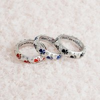 Crystal Rings When I Am with My Pet Letter Noir émail rouge Perle patte empreintes Finger Ring Nail Ring pour Femmes Best Friends Jewelry 080157